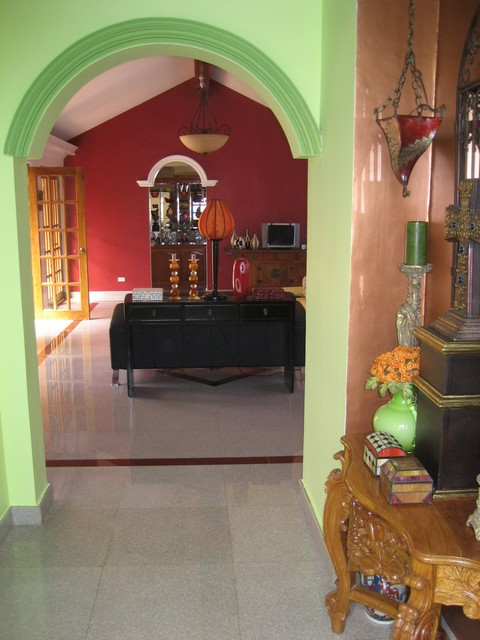 Archway entry to living room