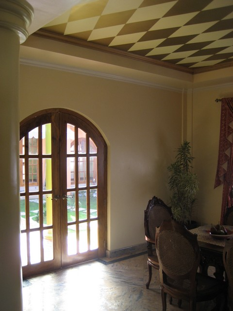 Dining room exit to courtyard terrace