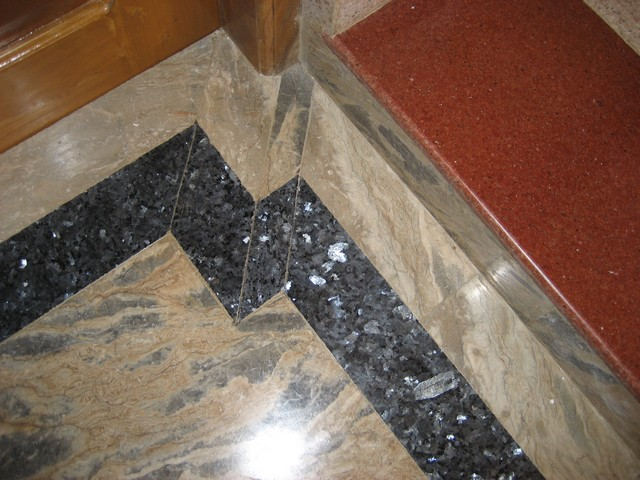 Detail of marble & granite flooring used in house